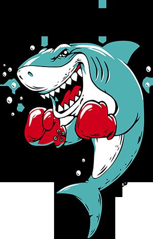 卡通拳击鲨鱼