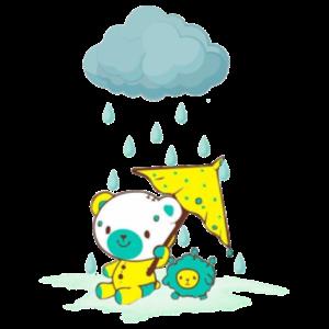 下雨中的小熊