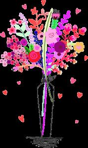 彩色花瓶插花